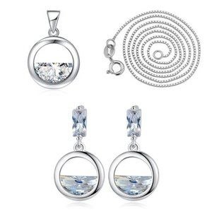 NEW [Set of 2] Sterling Silver Diamond Waterdrop A